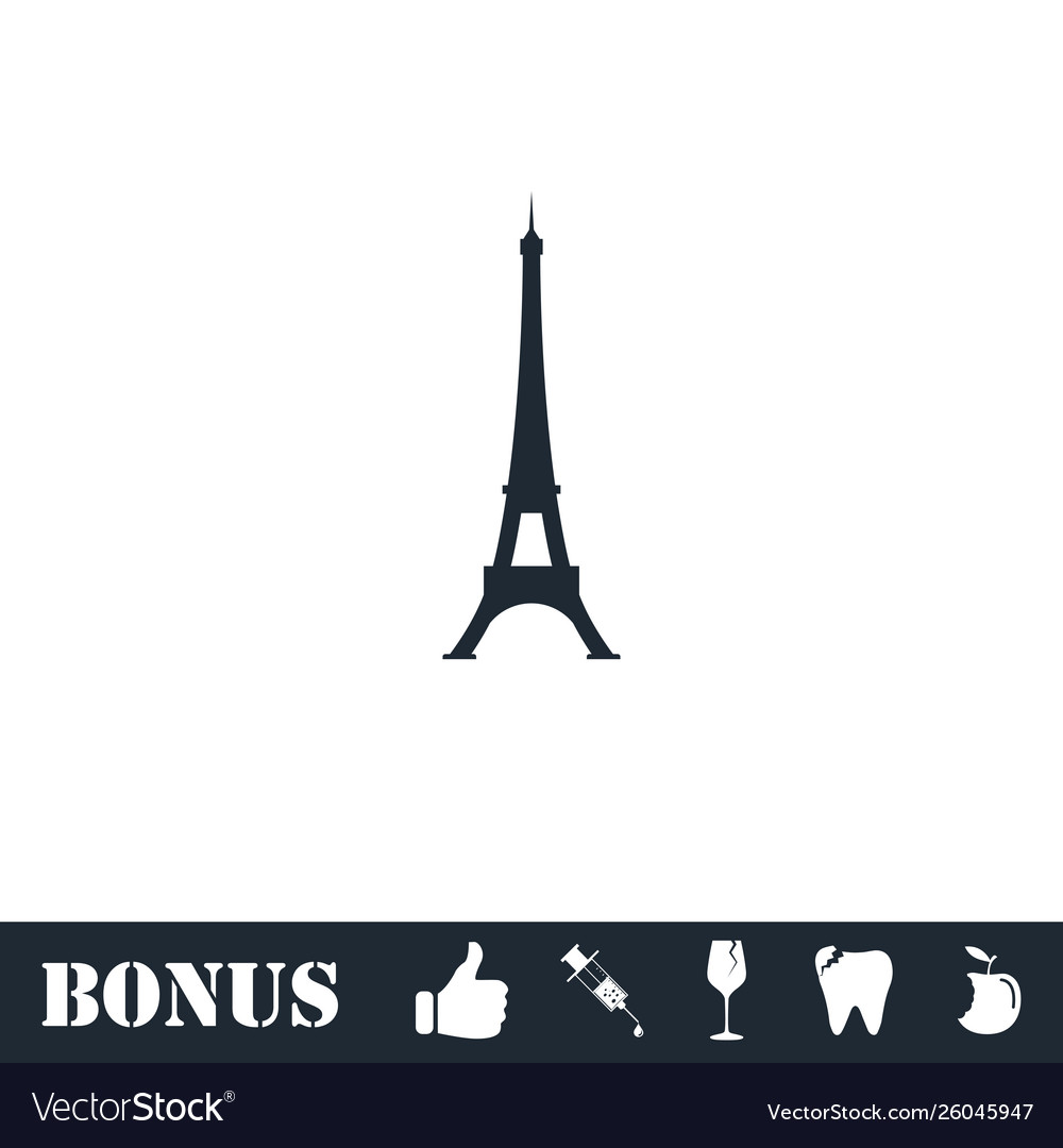 Eiffel tower icon flat