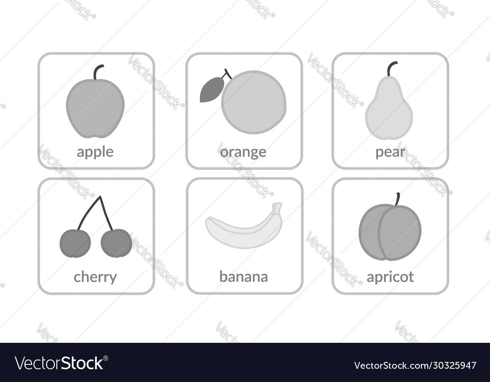 Fruits and berries objects icons set isolated on