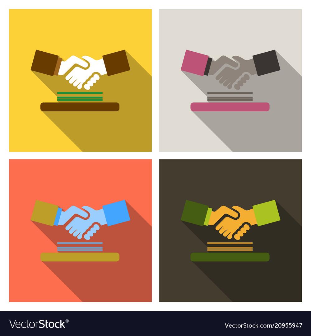 Handshake icon shake hands agreement good deal vector image