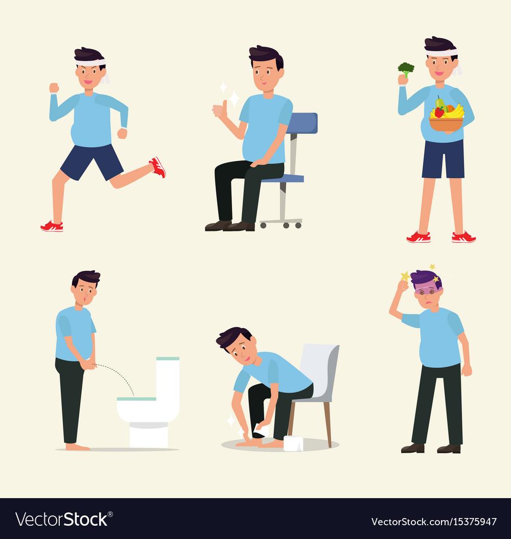Man flat character activity healthy life style set vector image