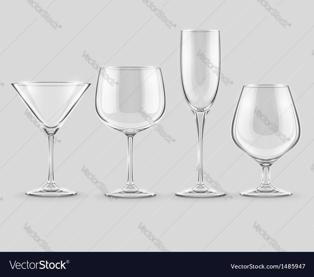 Set of transparent glass