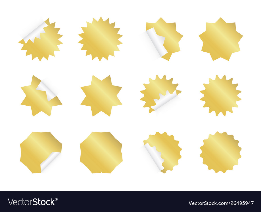 Starburst sticker set blank golden sunburst