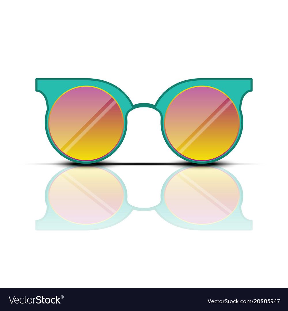 Turquoise orange sun glasses isolated on vector image