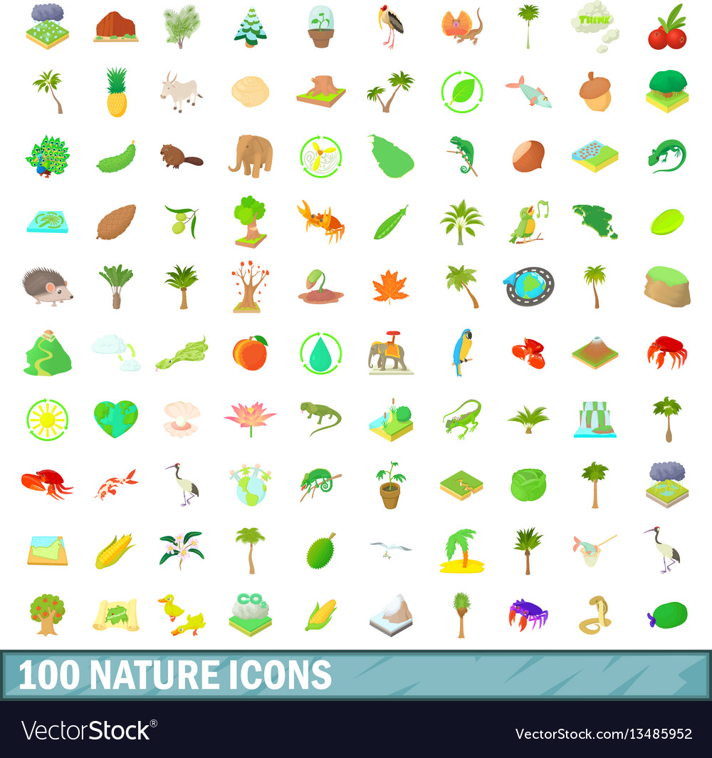 100 nature icons set cartoon style vector image