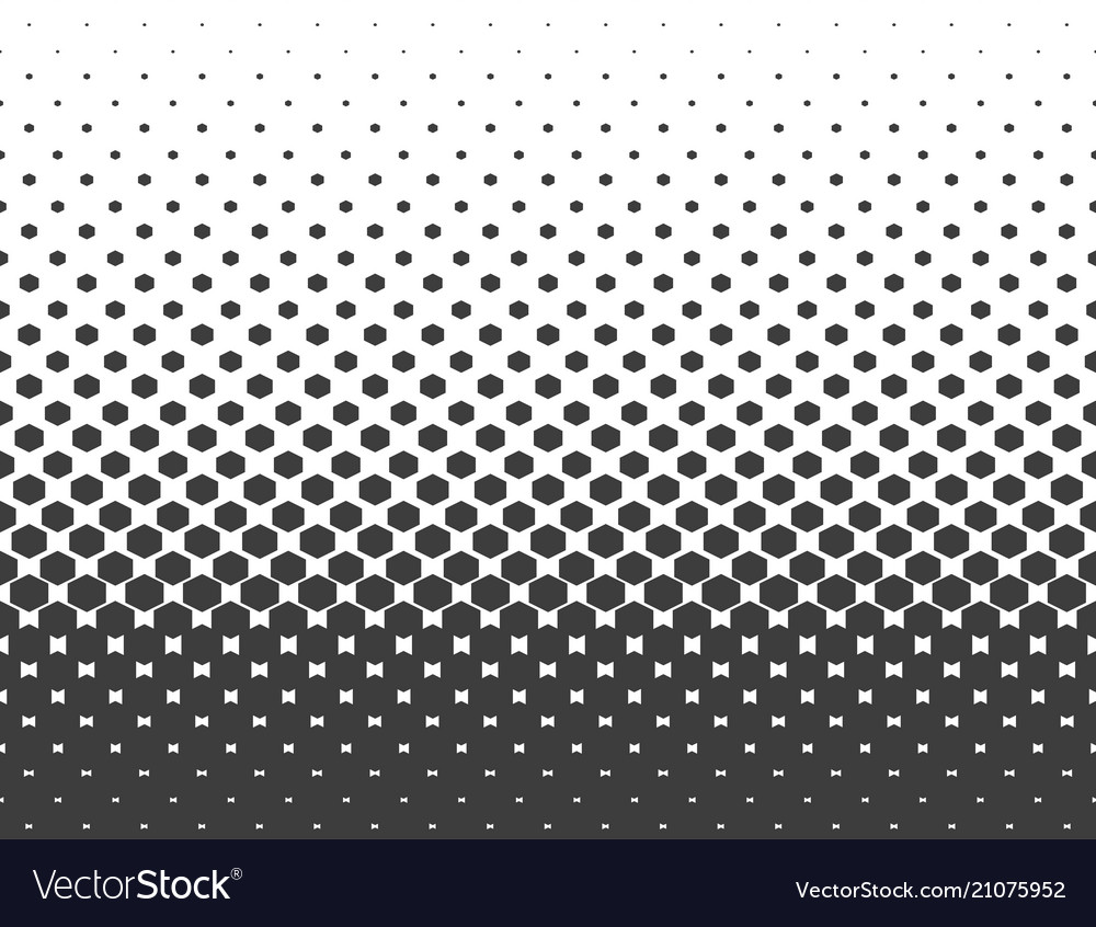 Abstract halftone black hexagon isolated on white