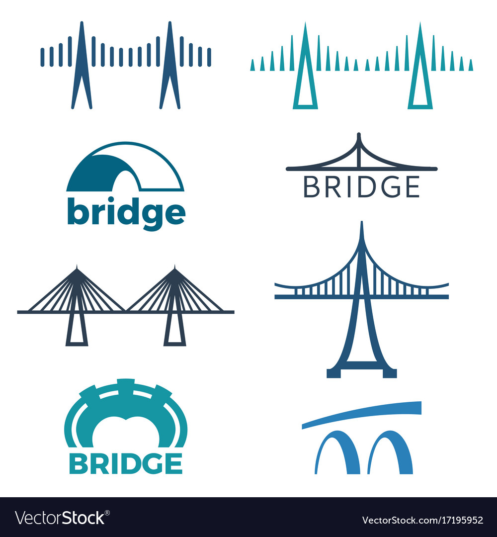 Bridge logos collection of isolated
