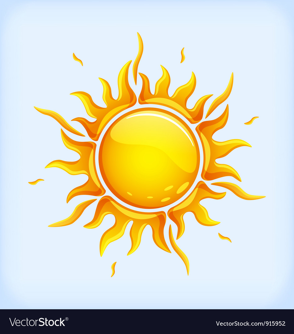 Bright yellow sun vector image