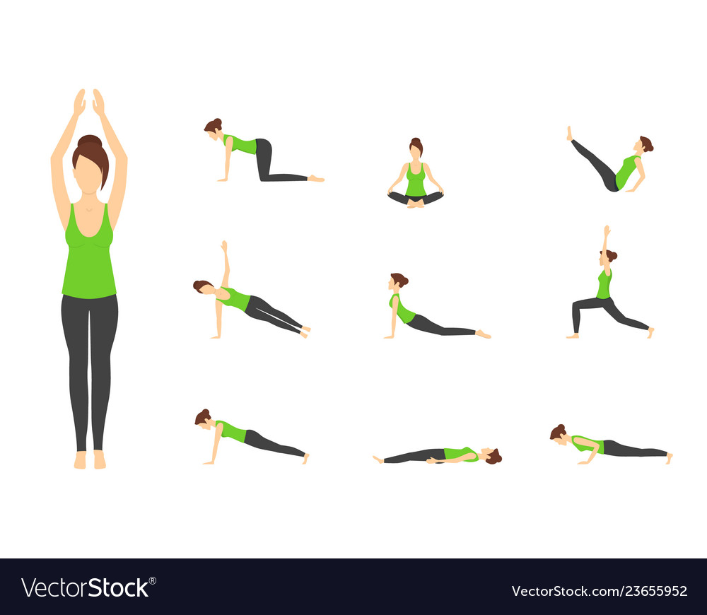 Cartoon woman in green top yoga poses icons set