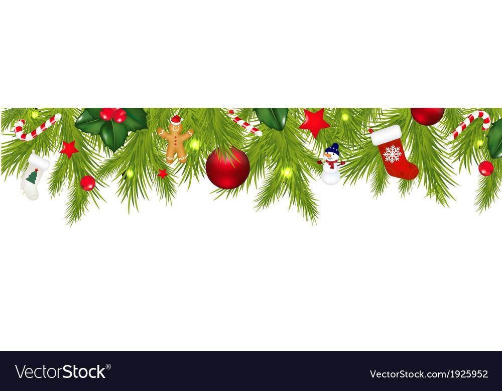 Christmas Border With Xmas Garland