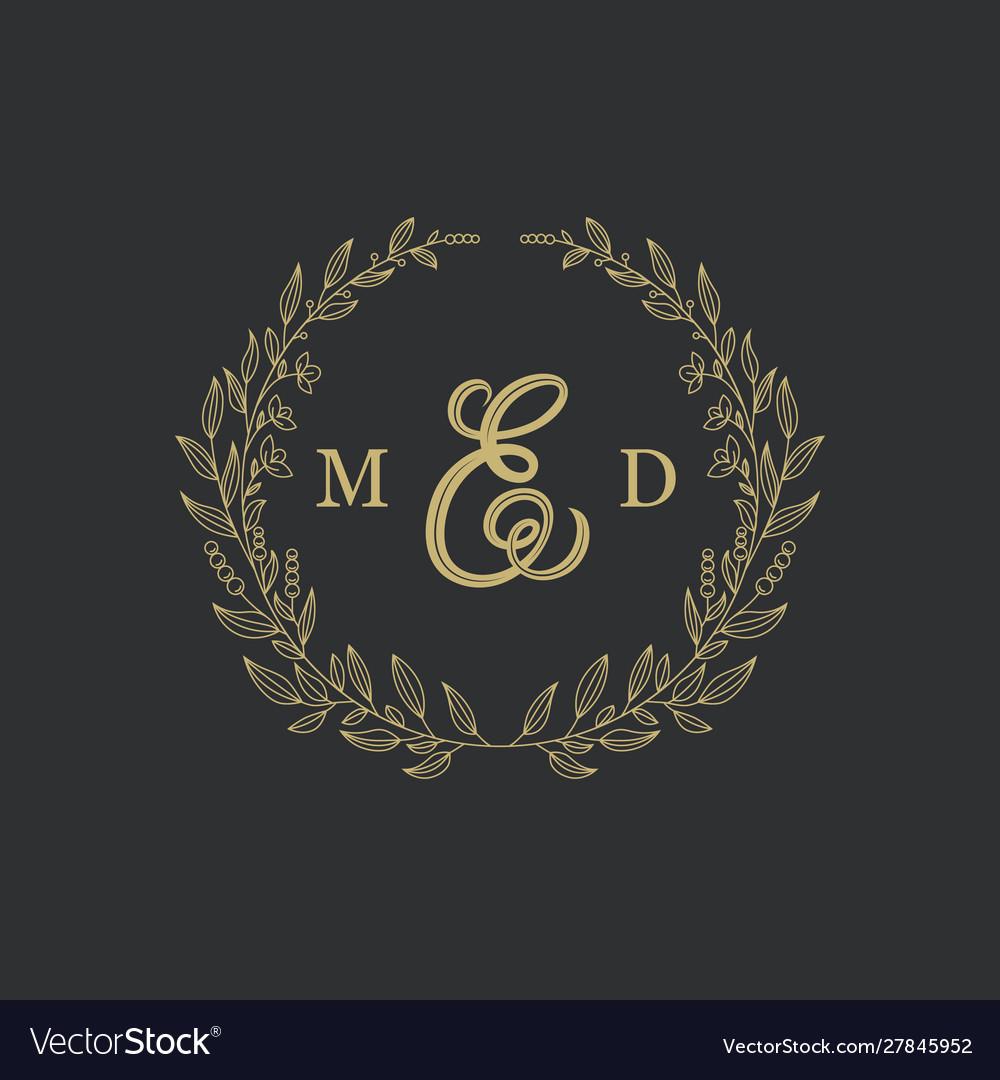 Elegant floral logo wedding logo design