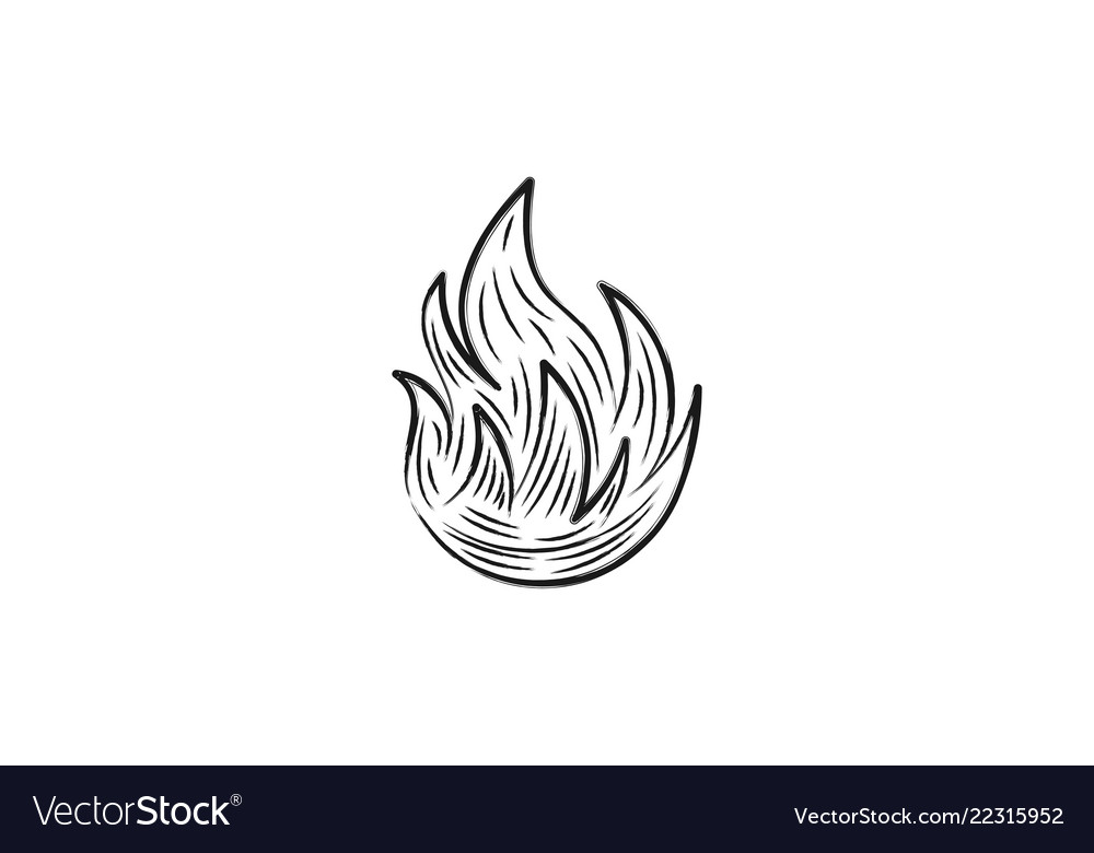 Hand drawn fire logo designs inspiration isolated
