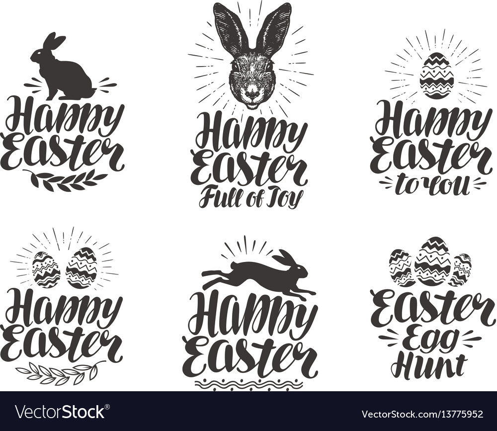 Happy easter label set egg rabbit bunny symbol