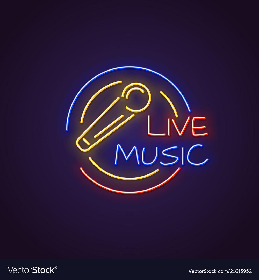 Live music neon banner