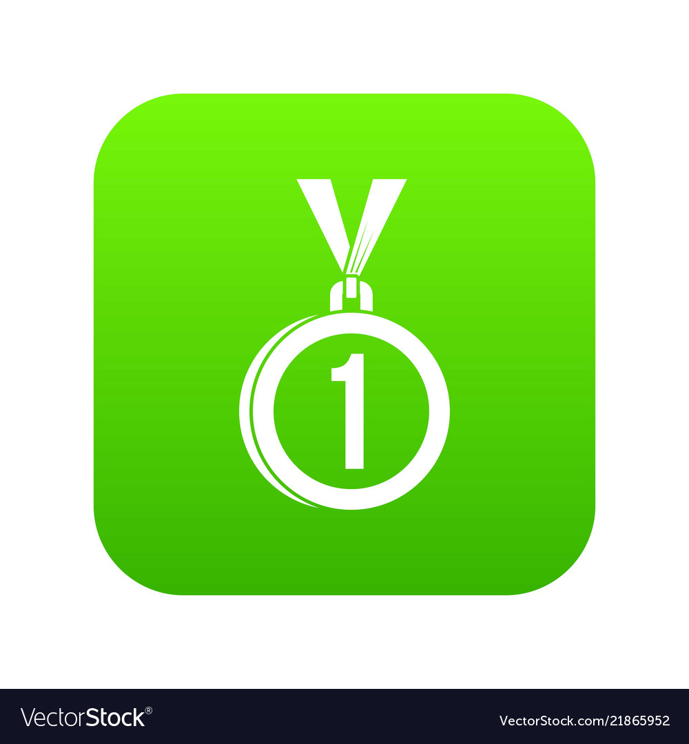 Medal for first place icon digital green