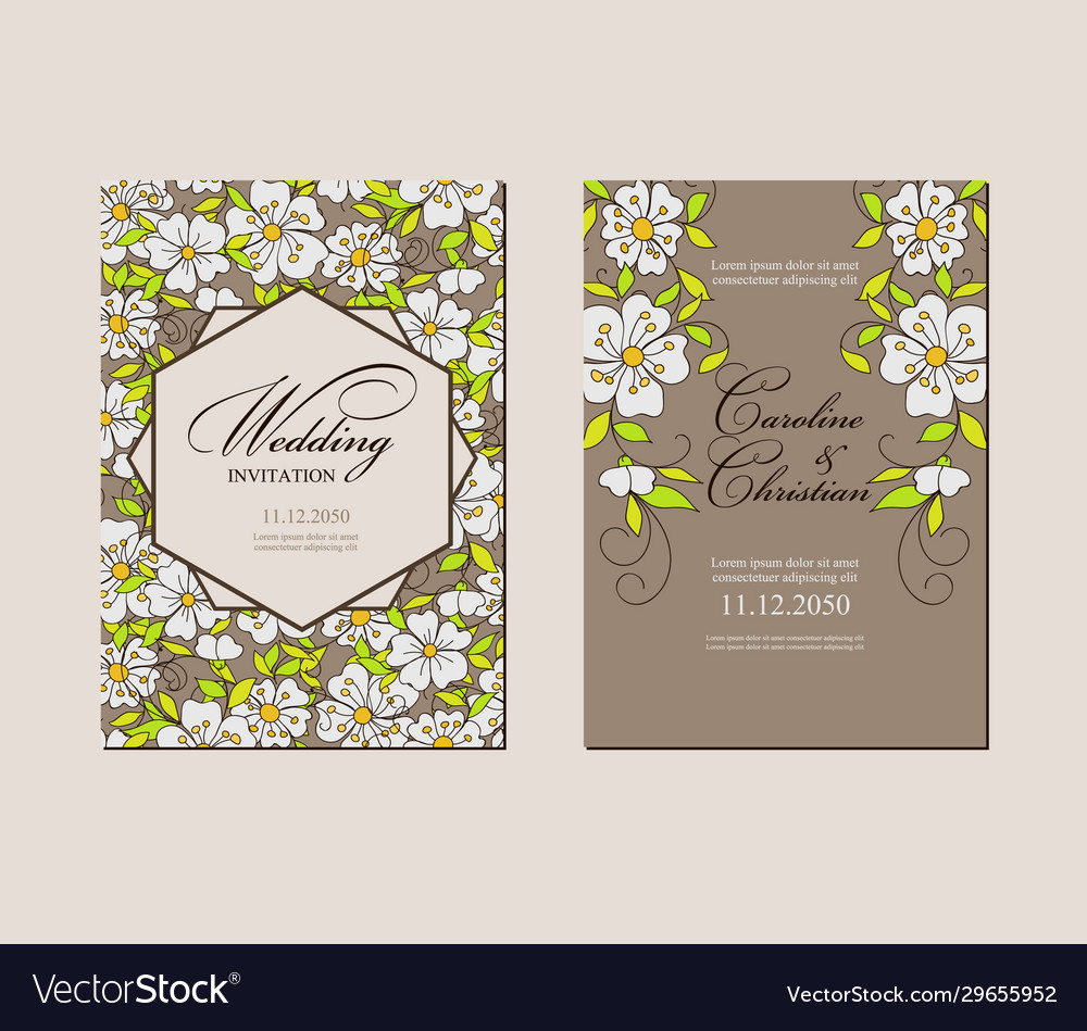 Set card with simple fantasy small flowers
