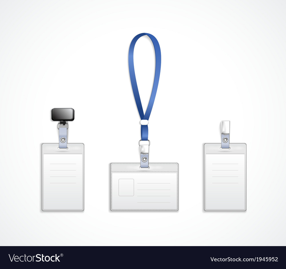 Templates For Name Tag With Lanyard Royalty Free Vector