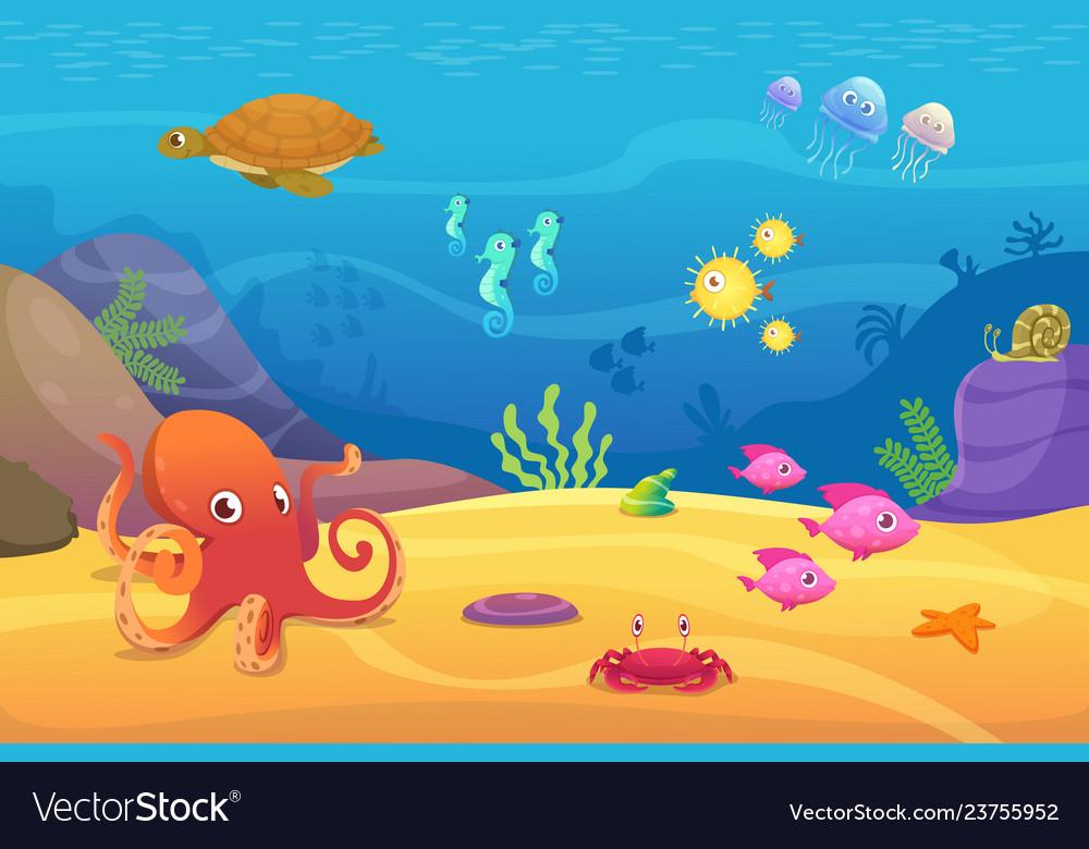 Underwater Life Aquarium Cartoon Fish Ocean And