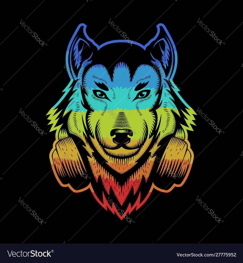 Wolf headphone colorful