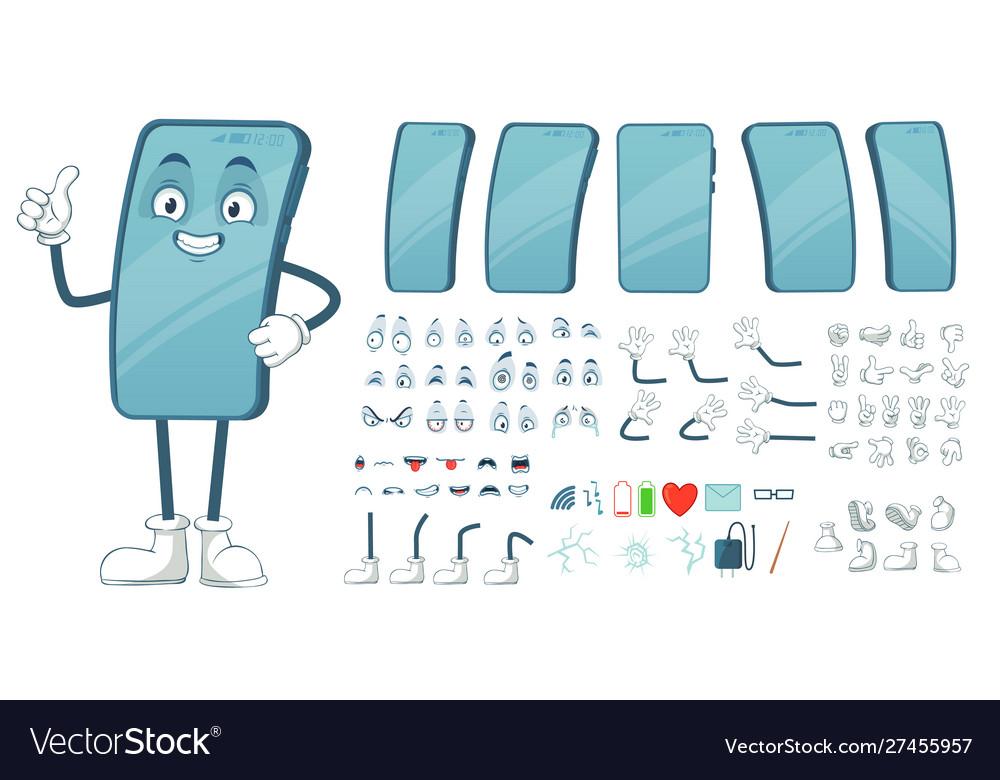Cartoon smartphone mascot funny mobile phone