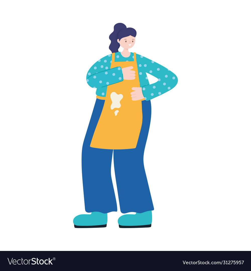 Cook woman with apron character isolated icon