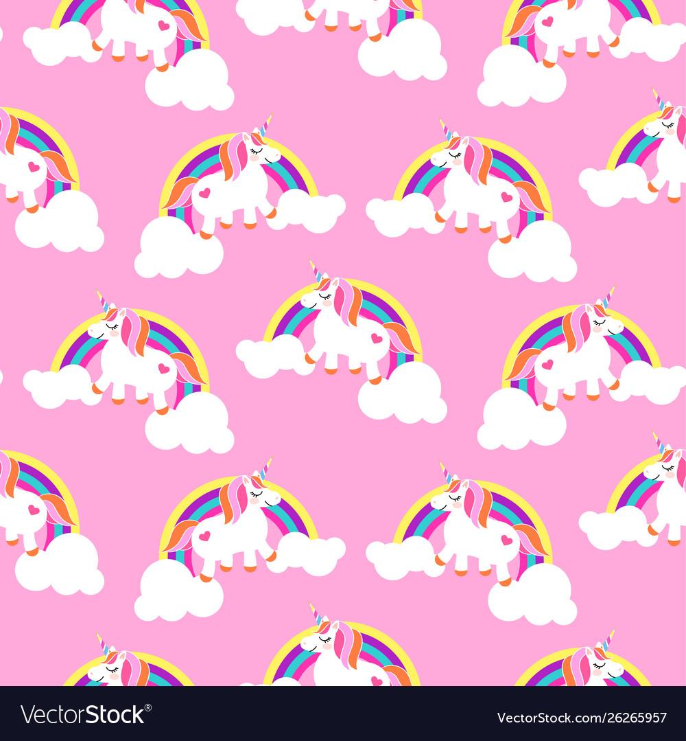 Cute unicorns and rainbows pink seamless pattern