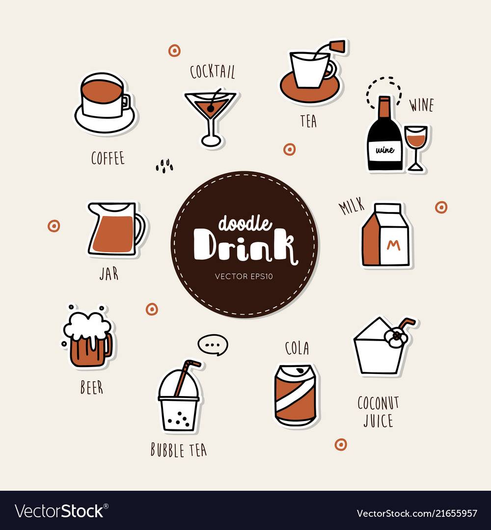 Drinks hand drawn doodle icons set
