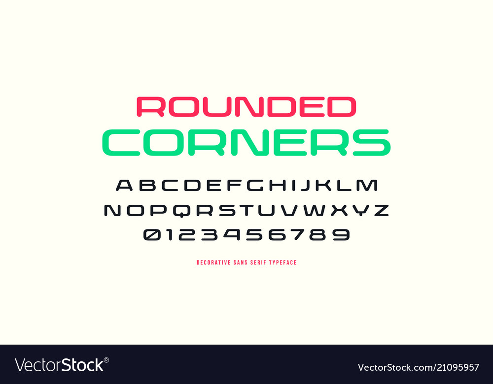 Extended sans serif font with rounded corners vector image