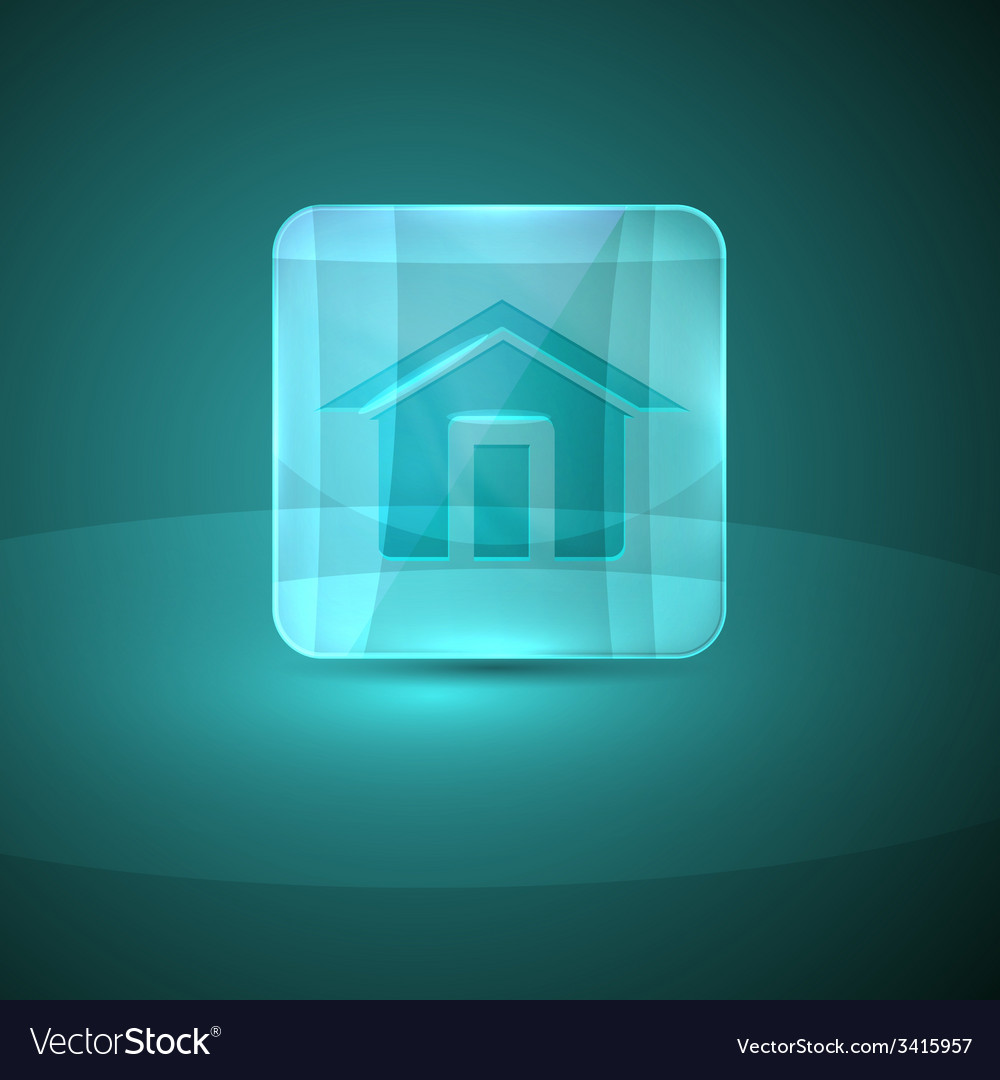 Glass icon with home sign