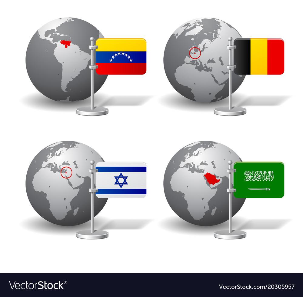 Gray earth globes with designation of venezuela vector image