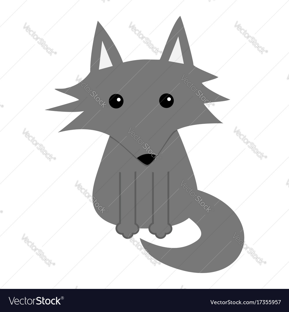 gray wolf cute cartoon baby character icon forest vector image rh vectorstock com cute cartoon wolves cute cartoon wolf girl