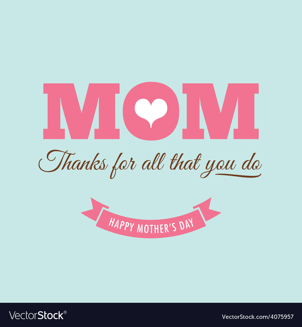 Mothers day card green background with quote