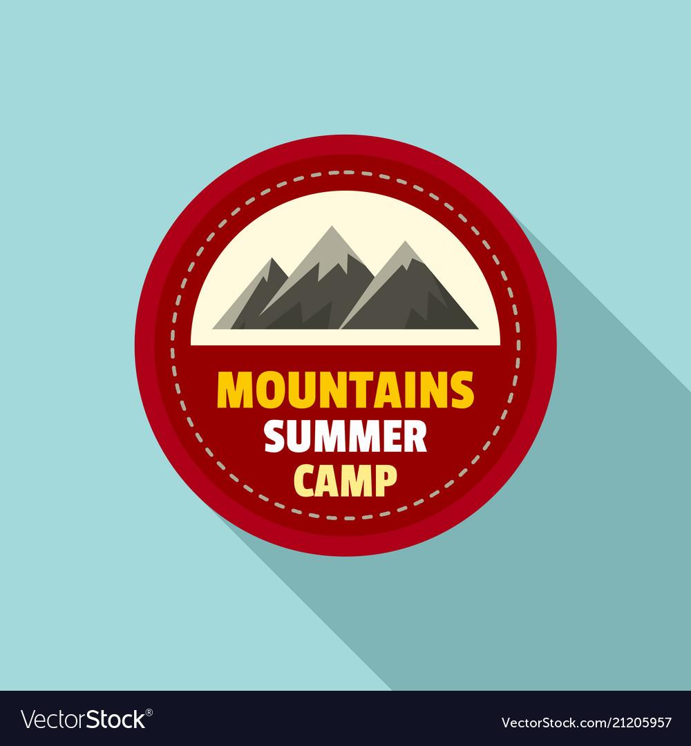 Mountains summer camp logo flat style