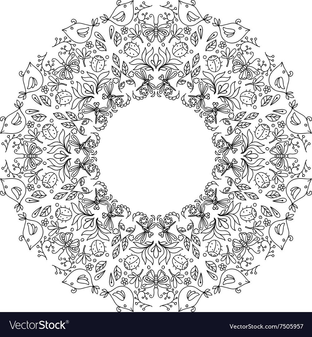 Page coloring book with round wreath
