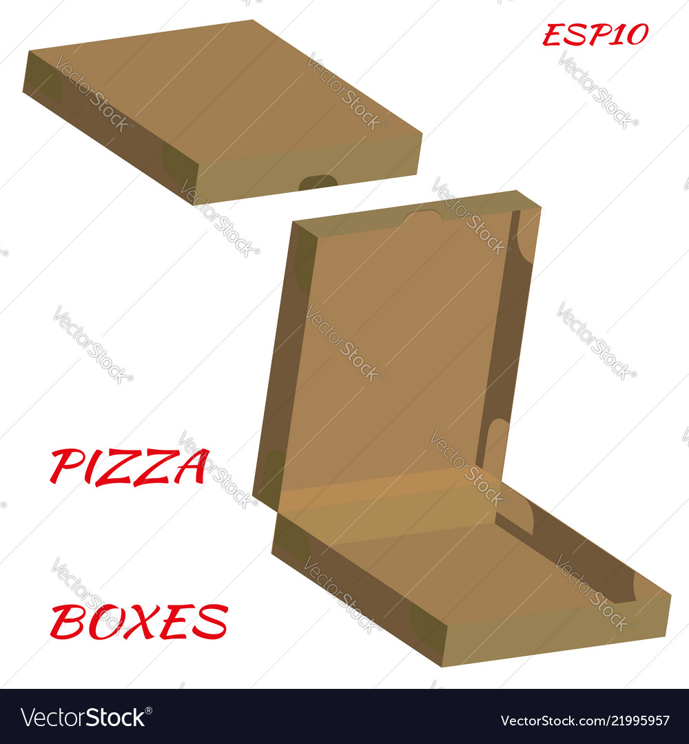 Realistic drawing of cardboard box for pizza