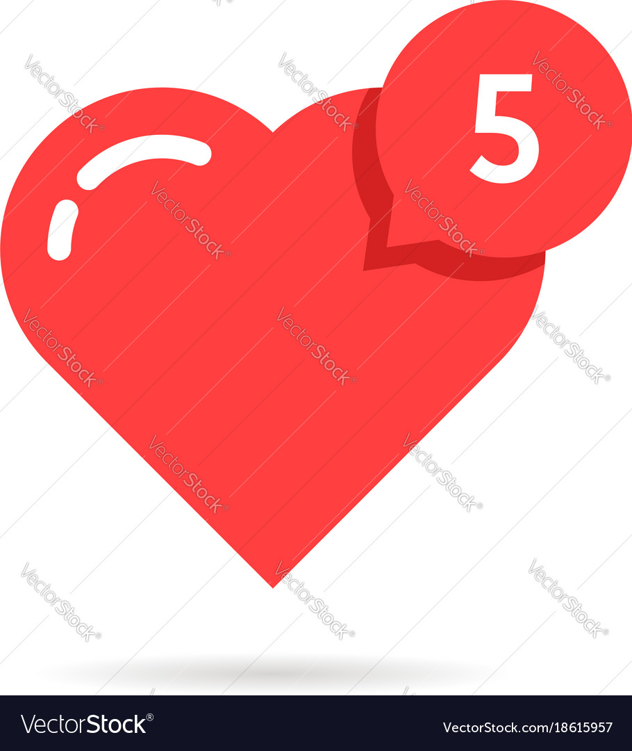 Red heart like simple notification