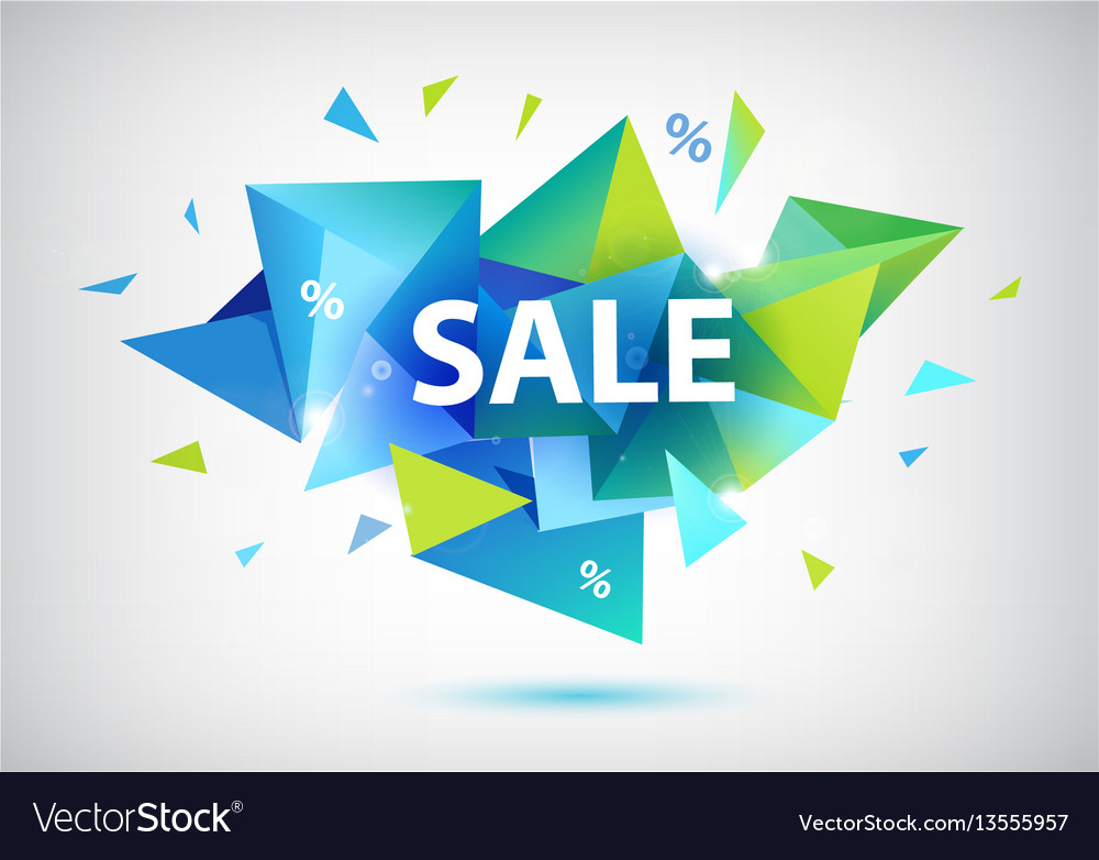 Sale faceted 3d banner poster