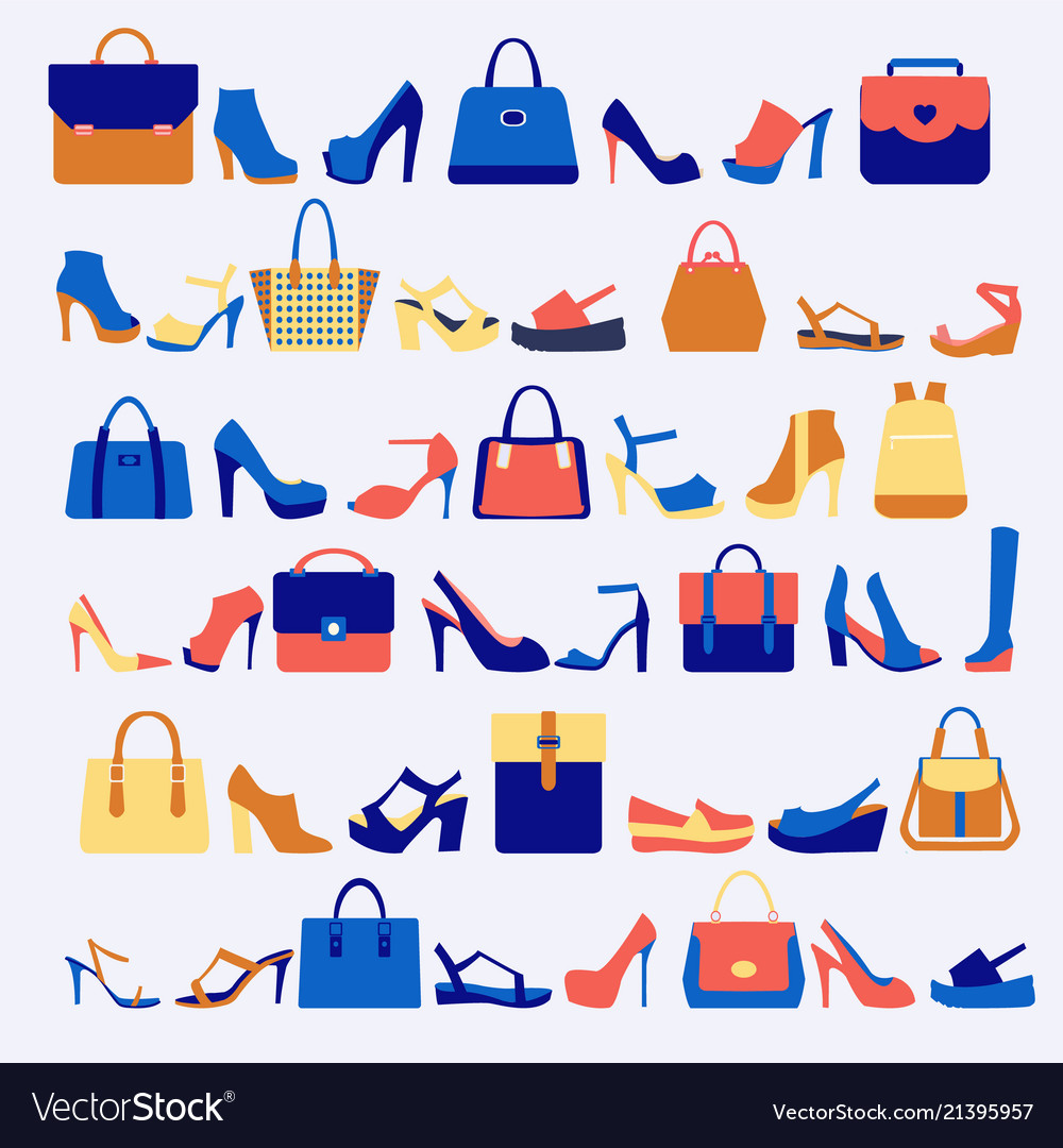 Set icons of fashion bags and shoes
