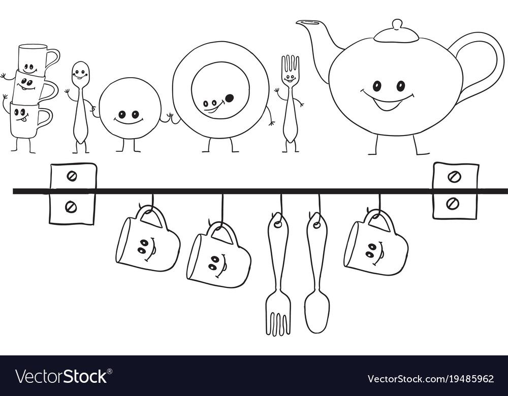 Dish set vector image