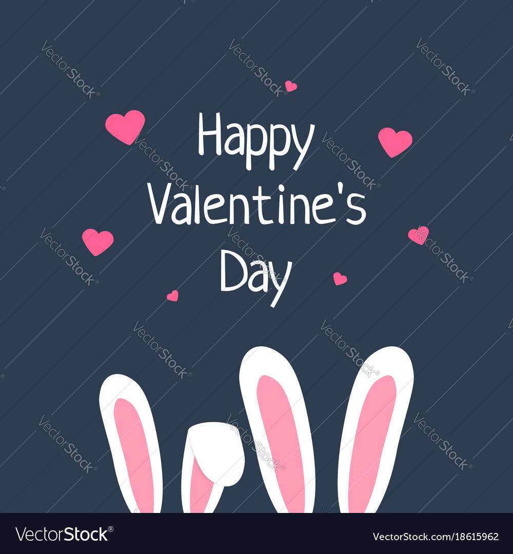 Happy valentine day with rabbit ears