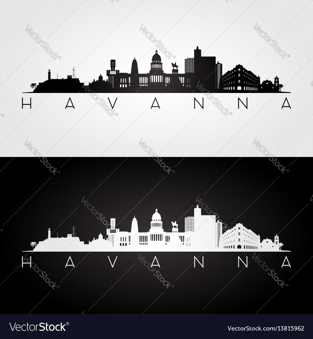 Havana skyline and landmarks silhouette