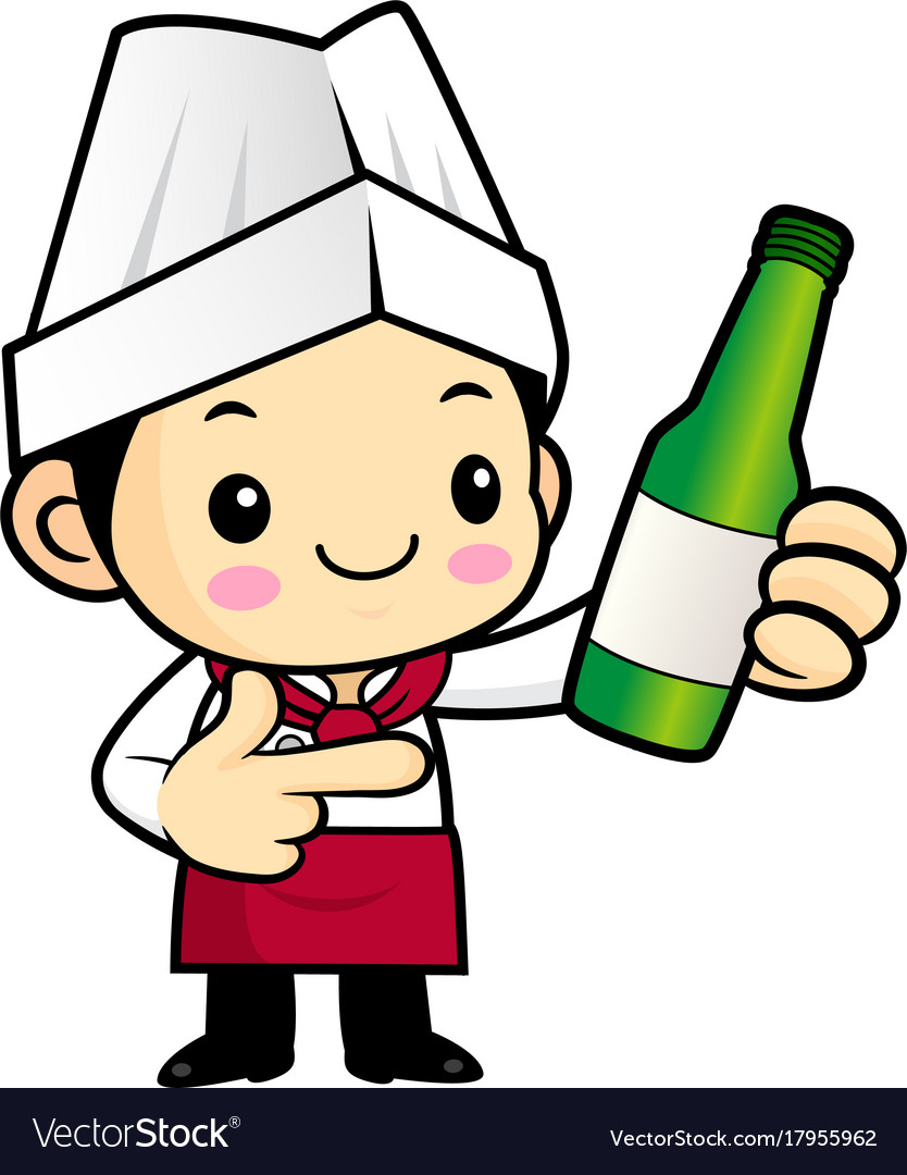 Head chef character promotes a distilled spirits vector image