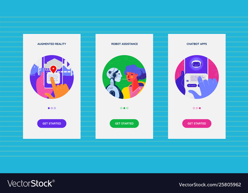 Onboarding app screens with artificial