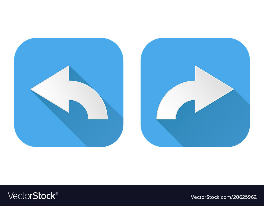 Right And Left Curved Arrows Square Blue Signs Vector Image
