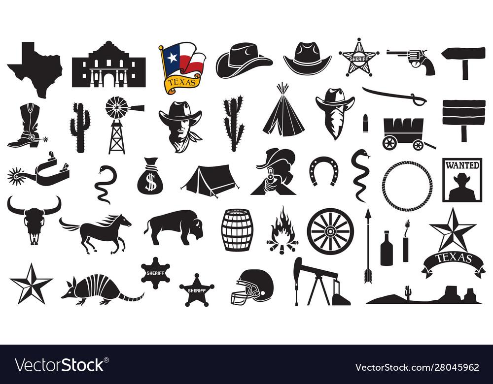 Texas icons set