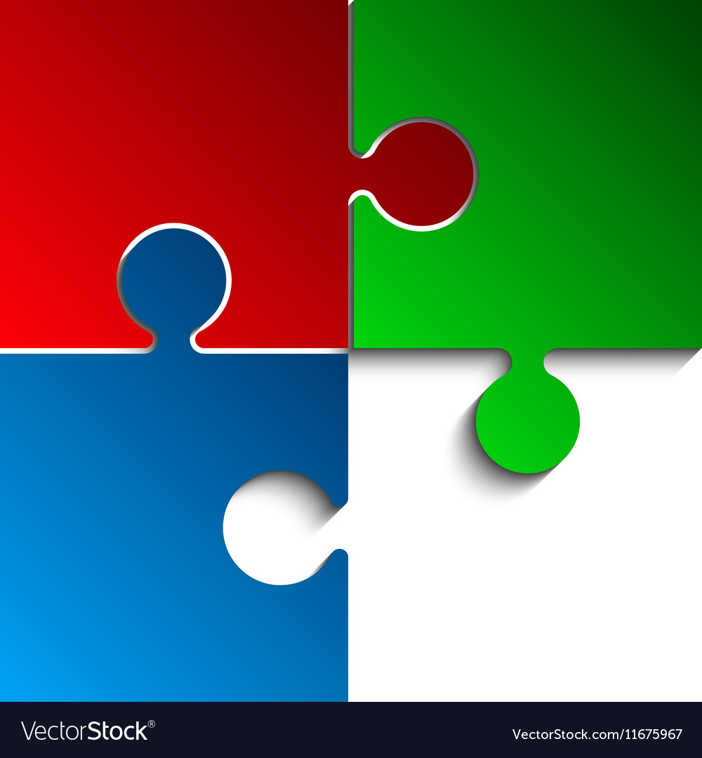 3 Puzzles Red Green Blue Rgb Pieces Jigsaw Vector Image