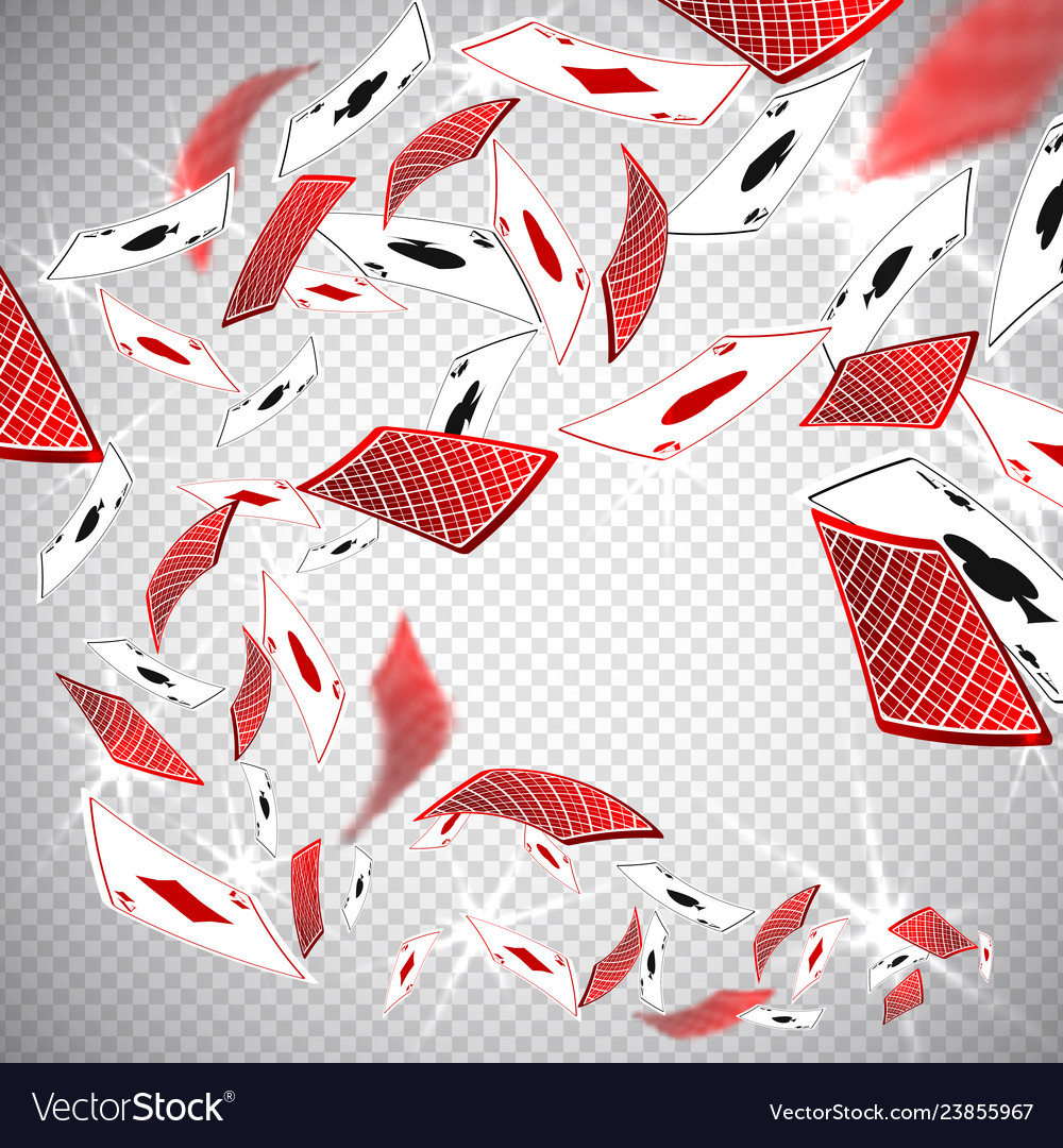 3d holdem poker casino cards flying in realistic