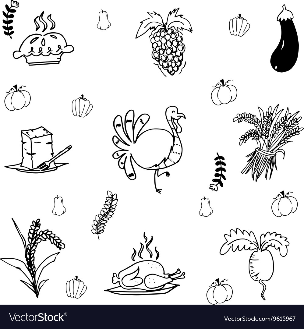 Doodle Thanksgiving turkey and vegetable vector image