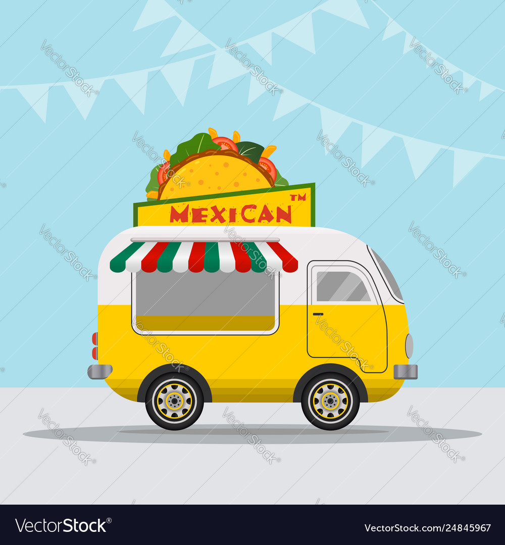 Food truck logotype for mexican food meal fast