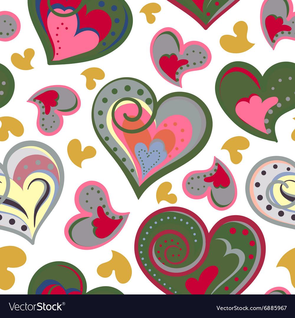 Love hearts seamless pattern Cute doodle heart
