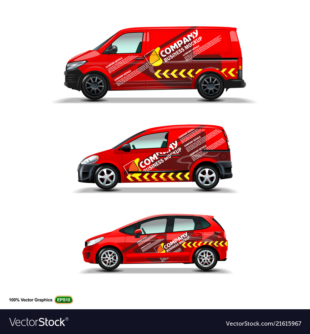 Mocup set with advertisement on red car cargo van